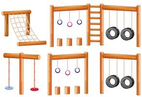 Set of wooden playground equipments