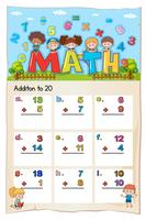 Math worksheet for addition to twenty