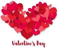 Modèle de carte Valentine avec beaucoup de coeurs
