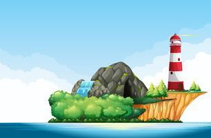 Escena de la naturaleza con faro y cueva en la isla.