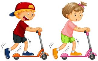 Boys Playing Kick Scooter on White Background