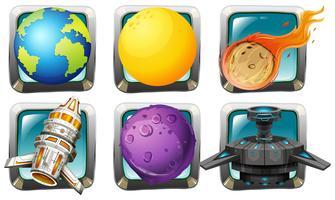 Raumschiff und Planeten auf quadratischen Abzeichen