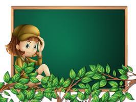 A girl scout on blackboard template