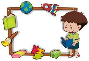 Modèle de bordure avec livre de lecture de garçon