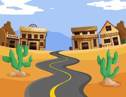 Western scene with empty road vector