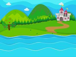 Szene mit Schloss am Fluss