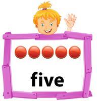 Een meisje dat nummer vijf banner toont