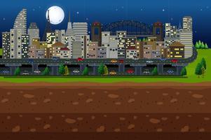 Una gran ciudad bajo la luz de la luna