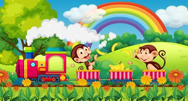 Monkey travel in nature by train vector