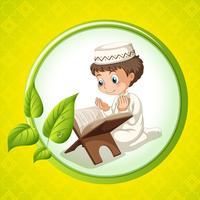 Muslim boy praying alone