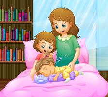 Mother and two girls in bed