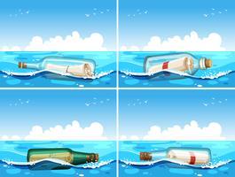 Fyra scener av budskap i flaska