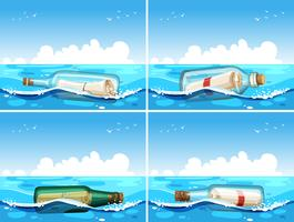 Four scenes of message in bottle