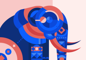 Gemalte Elefant-abstrakte geometrische Vektor-Illustration