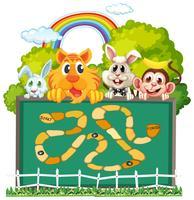 Modelo de jogo de tabuleiro de animais fofos