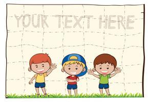 Carta bianca con tre ragazzi felici