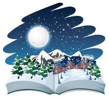 Open book winter outdoor theme