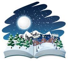 Open book winter outdoor theme