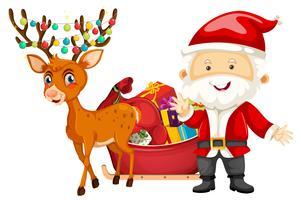 Santa och hjort på vit bakgrund