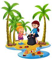 Niños voluntarios recogiendo basura en la isla.