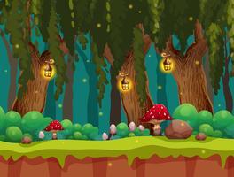 Floresta de conto de fadas e lâmpada à noite