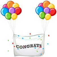 Colorful balloons with banner for word congrats
