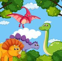 Una caricatura de dinosaurios.