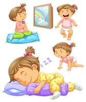Girl toddler in four different actions
