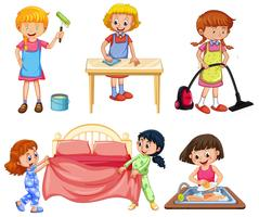 Girls doing different chores on white background