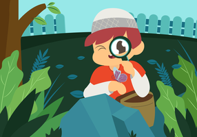 Muslim Child Playing Outdoors Vector Illustration