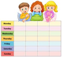 Seven days of the week table with kids in pajamas