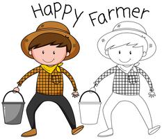 A happy farmer character