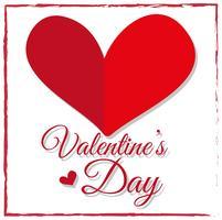 Kartendesign für den Valentinstag mit rotem Herzen