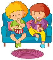 Two boys eating snack and drinking soda on sofa
