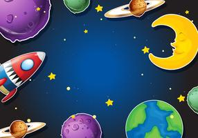 Background design with rocket and planets
