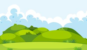 A beautiful green mountain landscape vector