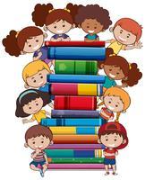 Libros con niños sobre fondo blanco