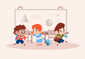 Children Playing At Class Vector Character Illustration