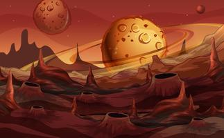 Background scene with red planet