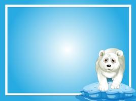 Plantilla de borde con oso polar sobre hielo