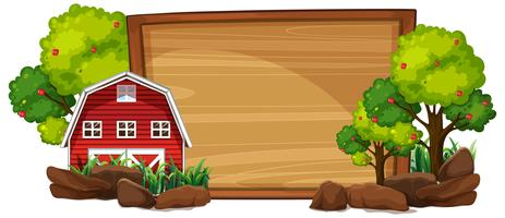 Rural house on wooden board