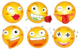 Gelbe Kugel mit verschiedenen Gesichtsausdrücken