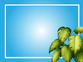 Blue background template with green leaves