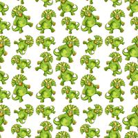 Nahtloses Muster des grünen Dinosauriers