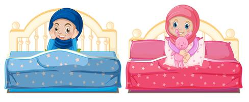 Muslim girls on the bed