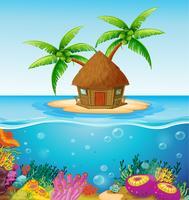 Hut på ön