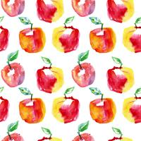 Watercolor seamless pattern with red apples. Hand drawn design.