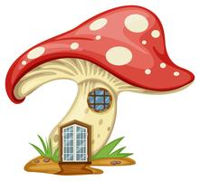 Casa de cogumelo com porta e janela