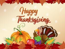 Lycklig tacksägelsekort mall