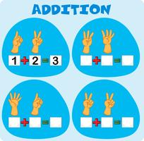 Addition worksheet with fingers